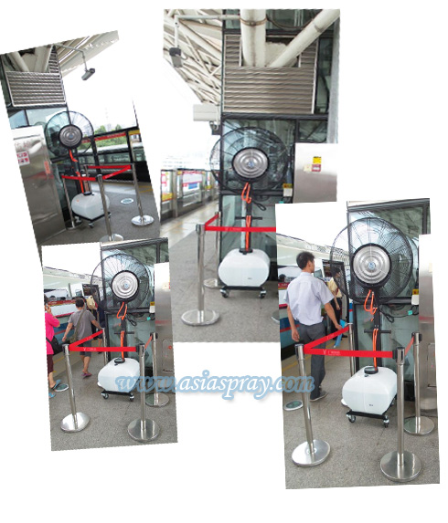 Spraying fan in Guangzhou subway