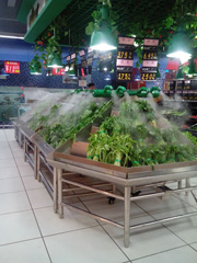 Preservation spray system for vegetable in super makets and malls